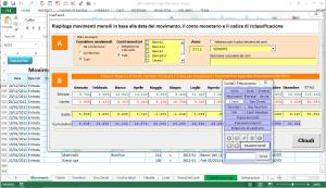 Gestione prima nota cassa con Telecomando per la navigazione facilitata e report dinamico di saldo mensile sulle varie banche